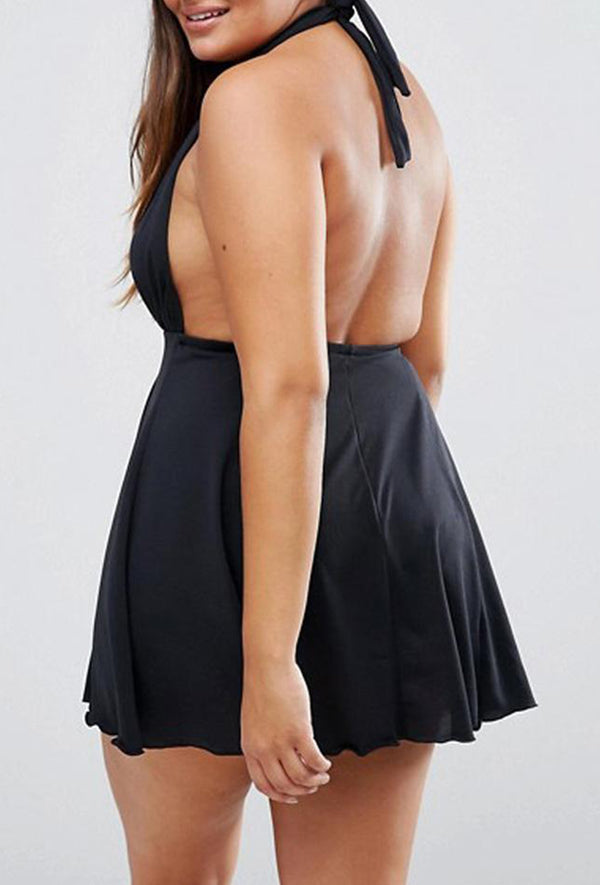 Black Plunge Plus Size Halter Swimdress