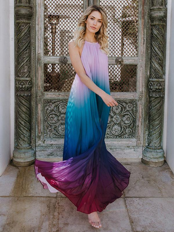 Halterneck Backless Gradient Maxi Dress