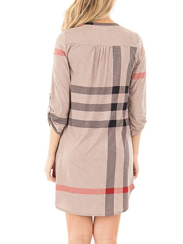 3/4 Sleeve V Neck Casual Dress
