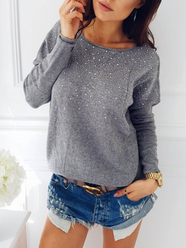 Plain Solid Cotton Sexy Long Sleeve Blouses