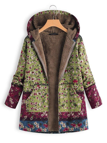 Patchwork Hoodie Casual Quilted Coat - fashionnana