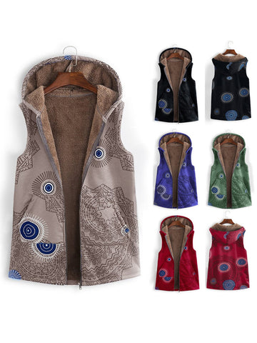 Women Casual Floral Printed Sleeveless Vest Coats With Hoodie