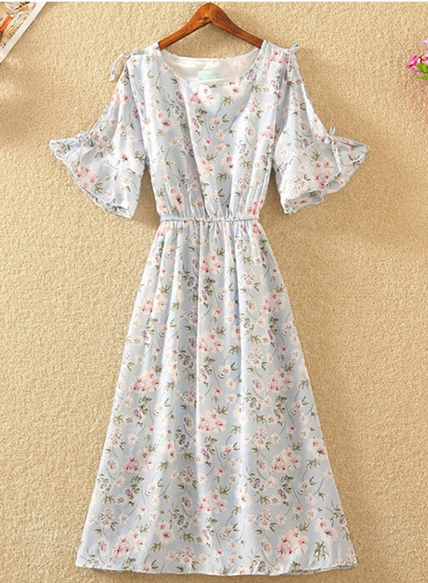 Floral Print Elastic Waist Design Round Neck Chiffon Dress
