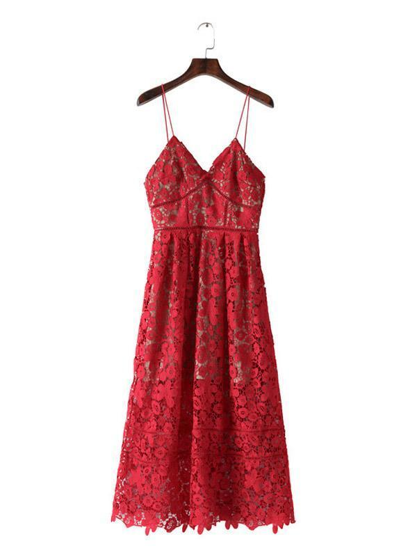 Red Spaghetti Strap Midi Lace Dress