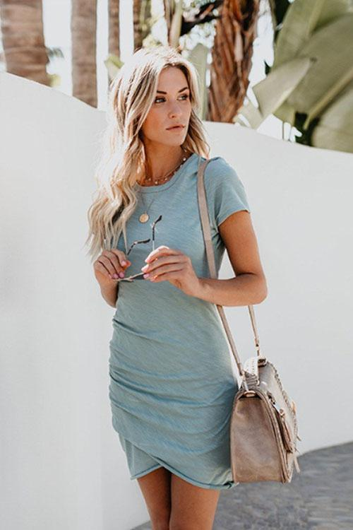 Girlonstyle Sunny Girl Pure Color Mini Dress