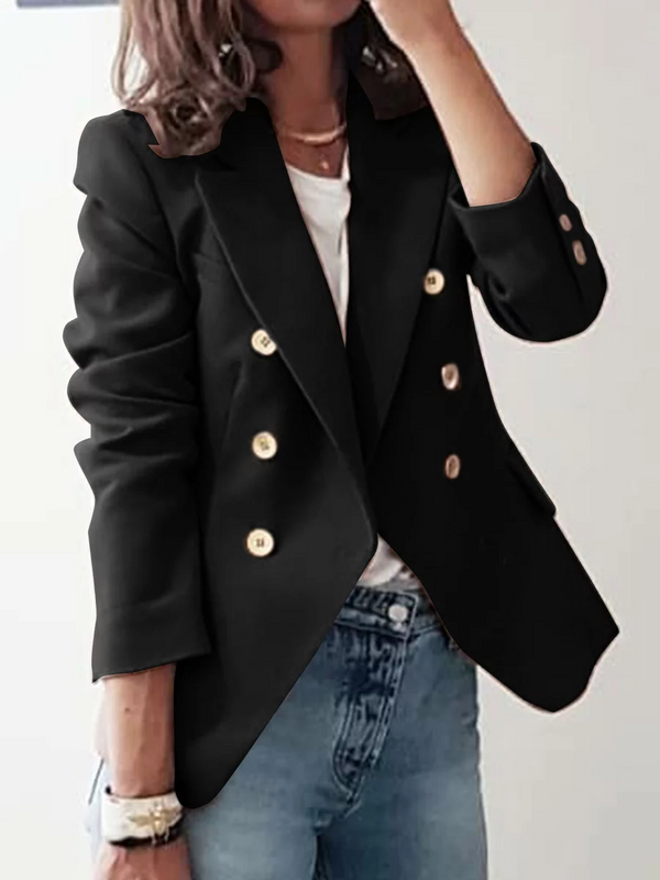 Solid Pockets Buttoned Blazer