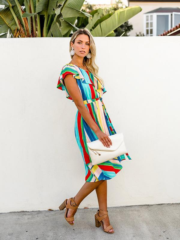 Single-shoulder Rainbow Strips Backless Midi Dress