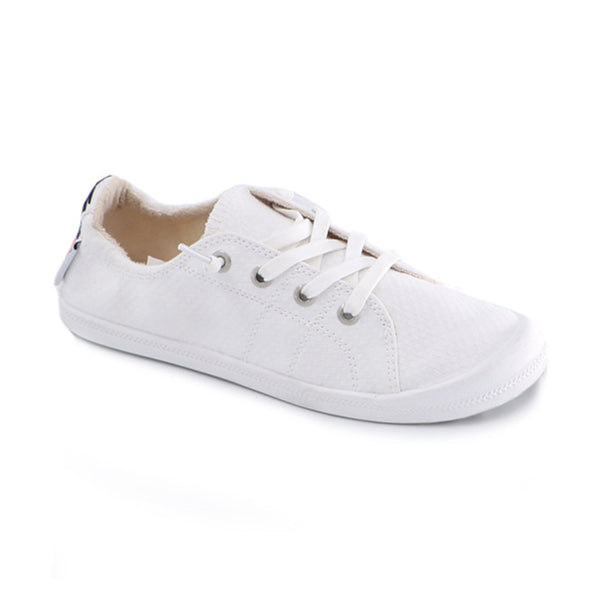 Embroidery Casual Athletic Memory Foam Padded Canvas Lace Up Shoes