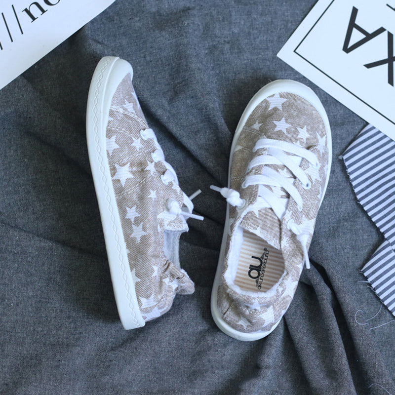 Casual Athletic Stars Printed Lazy Person Canvas Lace Up Shoes