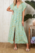 Dreamers Maxi Dress In Turquoise With Beige Floral