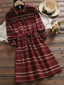 2 Colors Casual Shirt Collar Long Sleeve A-line Dress