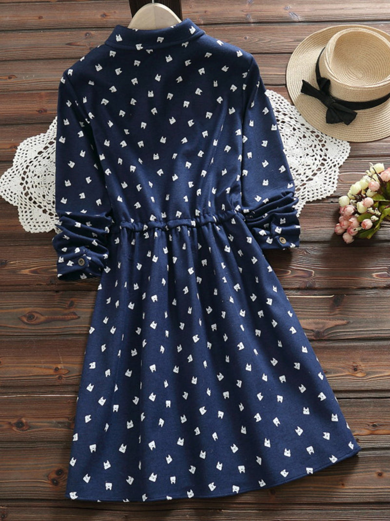 2 Colors Kitten Print Long Sleeve Gathered Daily A-Line Shirt Collar Dress