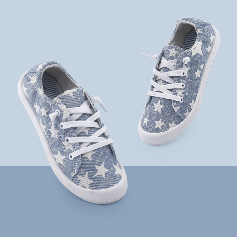 Athletic Five-Pointed Star Print Memory Foam Padded Canvas Lace Up Shoes