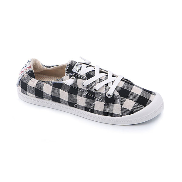 Plaid Back Embroidery Memory Foam Padded Canvas Sneakers