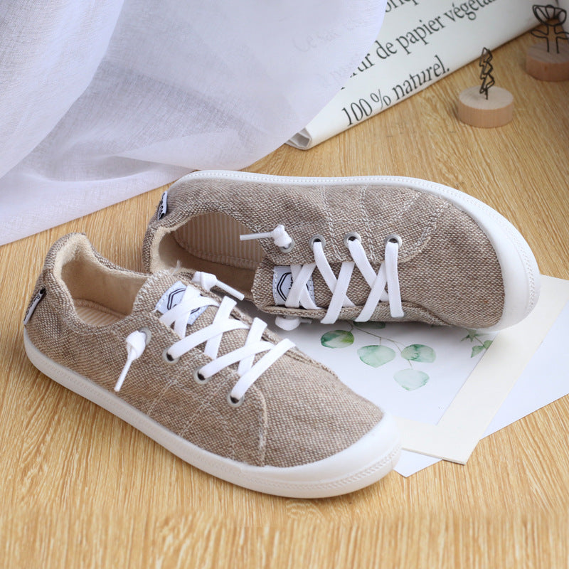 3 Colors Arc Design Memory Foam Padded Canvas Lace Up Sneakers