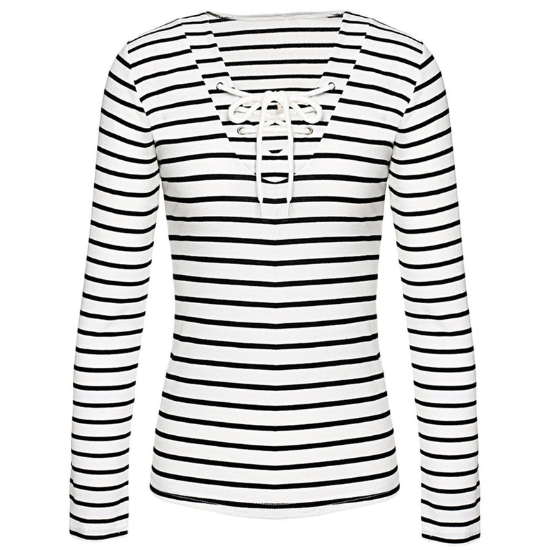 Striped Print Lace-up Front Slim Fit Knit Tee