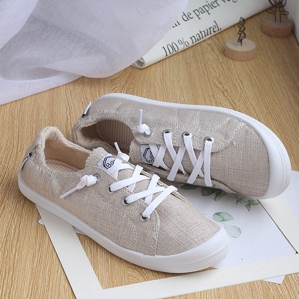 Casual Lace Up Memory Foam Padded Canvas Shoes