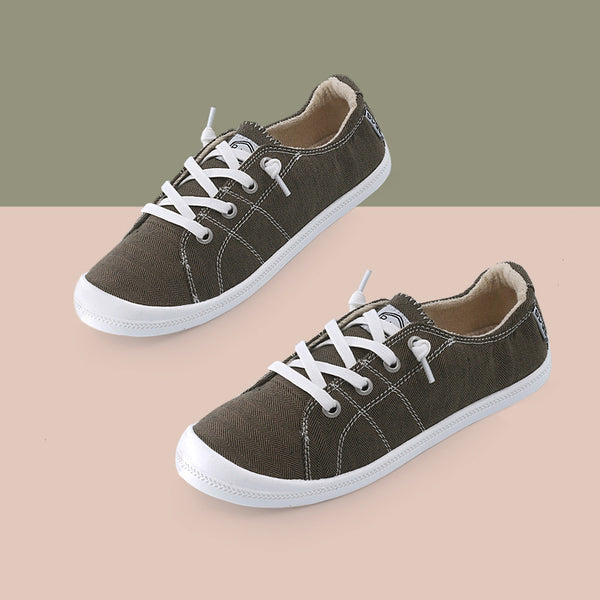 Arc Design Lazy Person Memory Foam Padded Canvas Sneakers