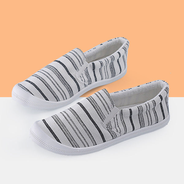 Stripe Print Memory Foam Padded Canvas Lace Up Sneakers