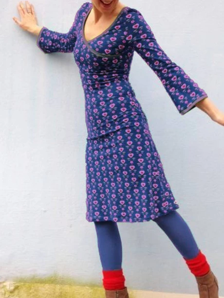 Purplish Blue Long Sleeve Floral-Print Dresses
