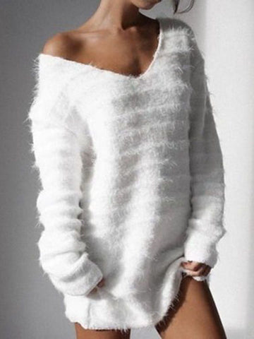 Long Sleeve Solid Cashmere Sweet Fleece Fuzzy Sweaters