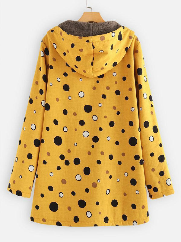 Print Polka Dots Pockets Quilted Fleece Hooded Coat