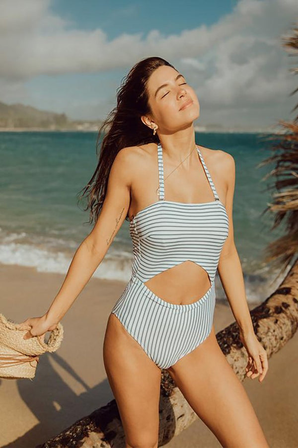 BREEZY STRIPE ONE-PIECE CUT OUT SUIT