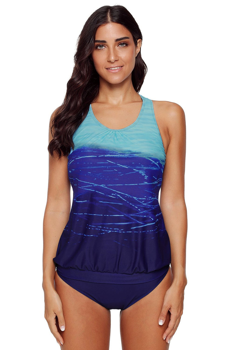 Blue Gradient Beach 2pcs Tankini Swimsuit