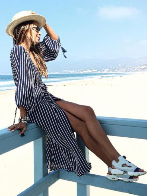 Bohemia Striped  V-neck Midi Dress