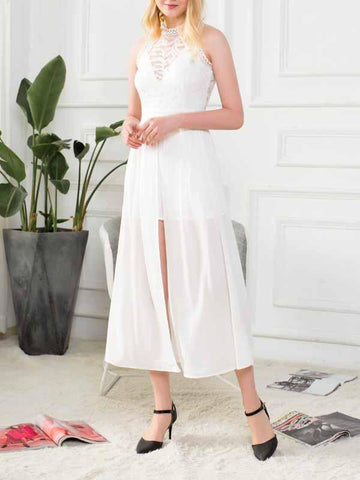 White Midi Dress Lace Panel Split Front