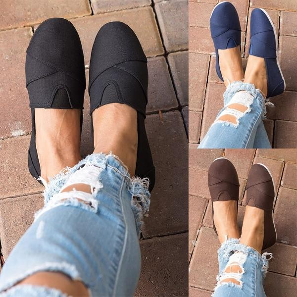 Women Canvas Flats Casual Comfort Slip On Shoes
