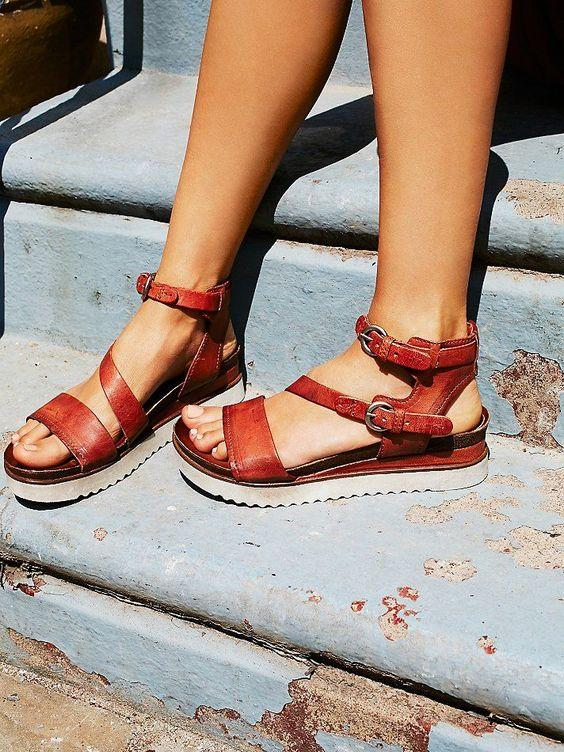 Large Size Women Casual Buckle Strap Flatform Sandals