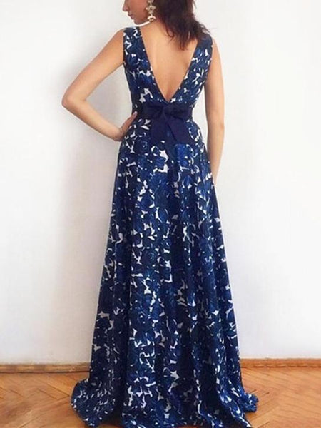 Floral Bow-embellished Backless Sleeveless Maxi Dress