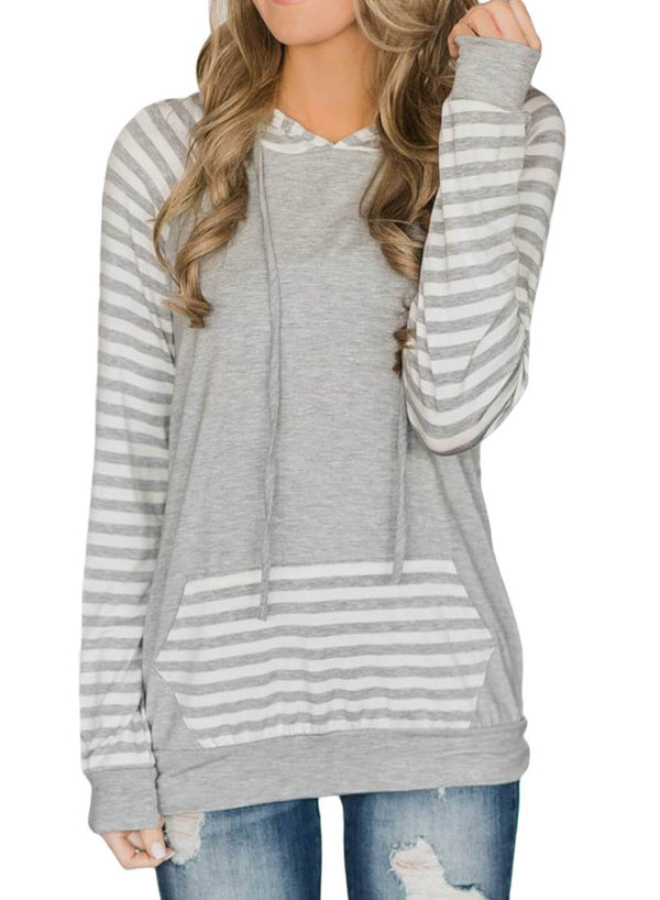Striped Front Pocketed Hoodies