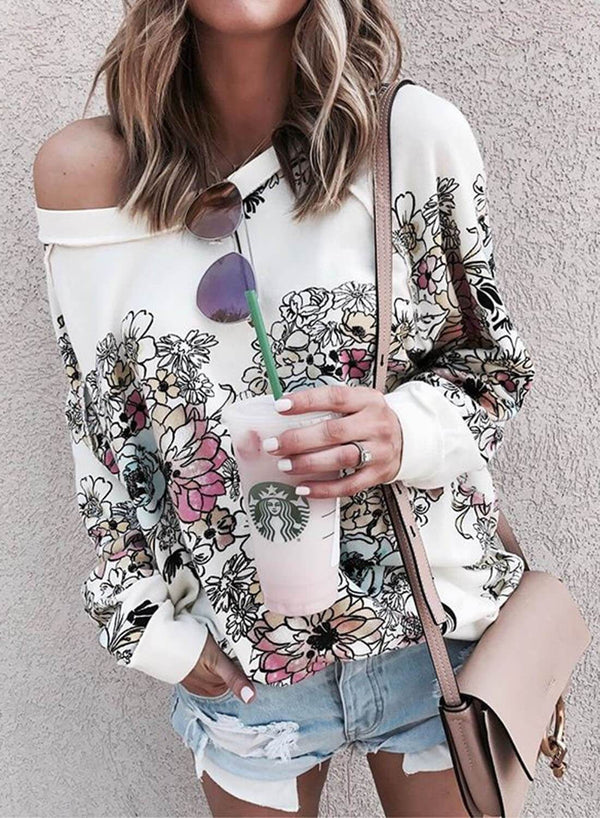 Floral Print Crew Neck Sweatershirt