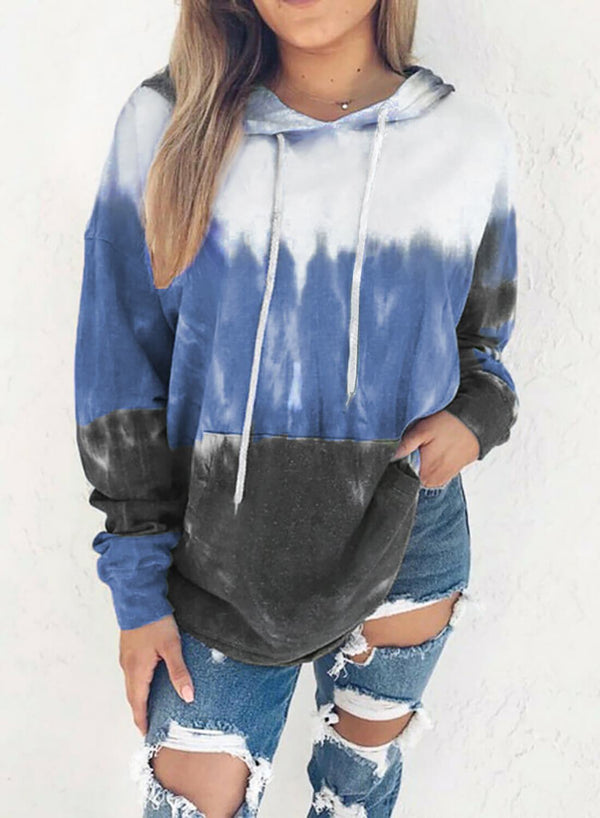 Casual Gradient Color Long Sleeve Hoodie