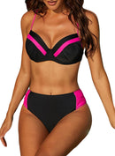 Patchwork Underwired Bikini Swimsuit