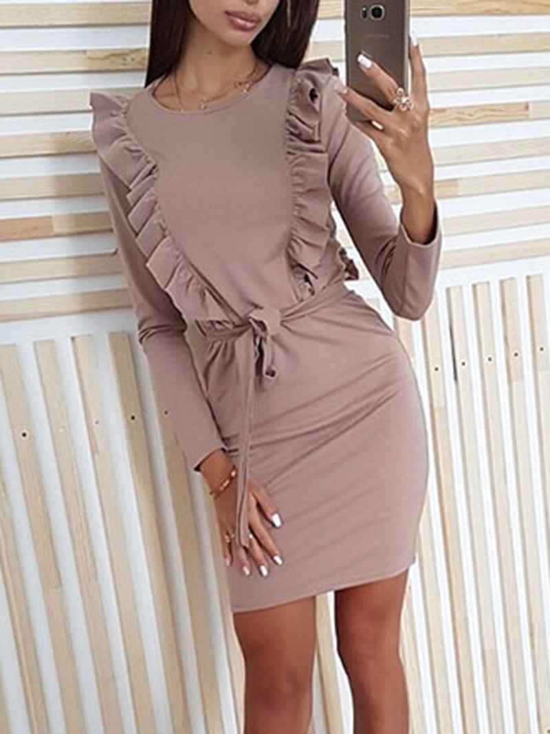 Women Solid Long Sleeve Ruffles Sashes Sheath Bodycon Sexy Party Mini Dresses