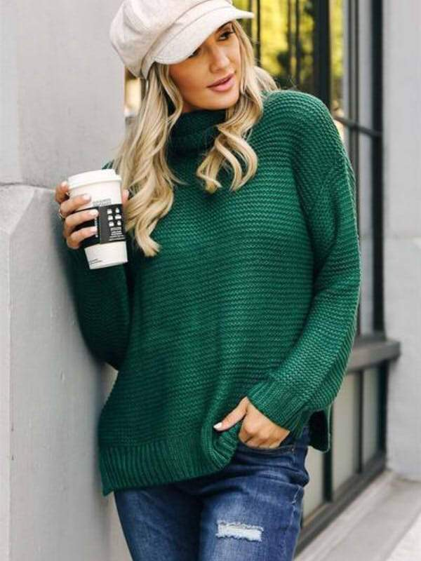 Solid Turtleneck Oversized Long Sleeve Sweater