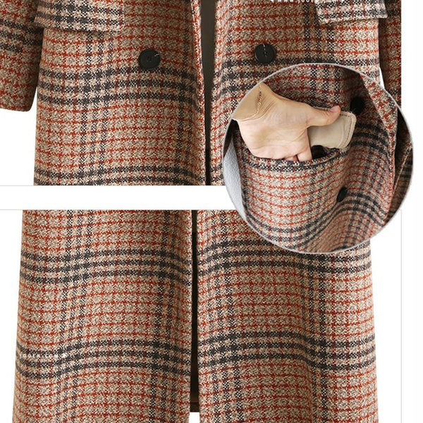 Intarsia Knits And Tweed Double-breasted Duffle Coat