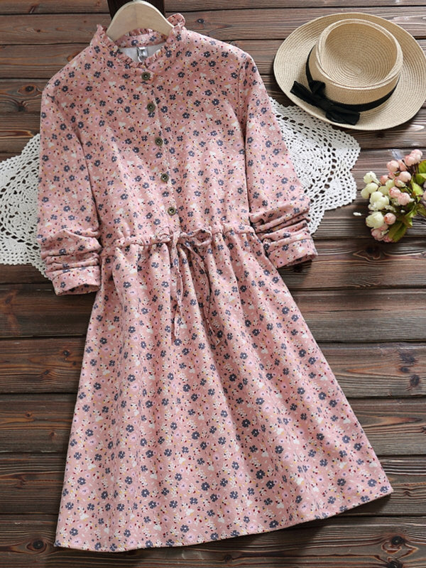 3 Colors Floral Long Sleeve Casual Shirt Collar Dress