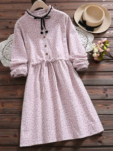 2 Colors A-Line Date Casual Shirt Collar Dress