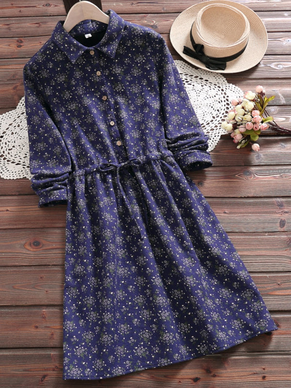 2  Colors Casual Buttoned A-Line Gathered Daytime Shirt Collar Dress