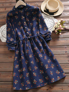 2 Colors Stand-Up Printed Neck A-Line Casual Long Sleeve Dress