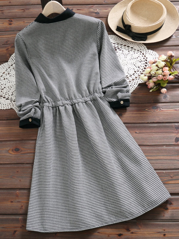 Plaid Long Sleeve Gathered Buttoned Shirt Collar Cotton Dress