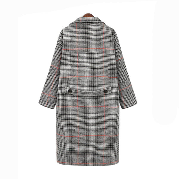 Intarsia Knits Tweed Double-breasted Overcoat