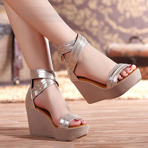 Women Wedge Sandals Casual Peep Toe Zipper Sandals Shoes