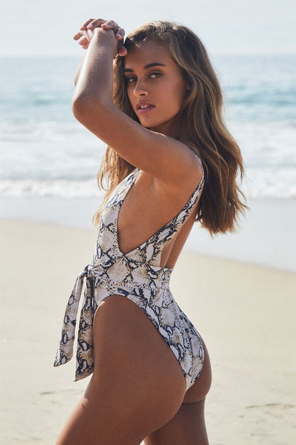 Snakeskin Straps Tie One Piece Swimsuit