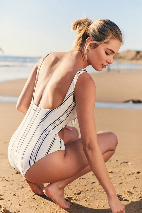 Stripe Tie One Piece Swimsuit