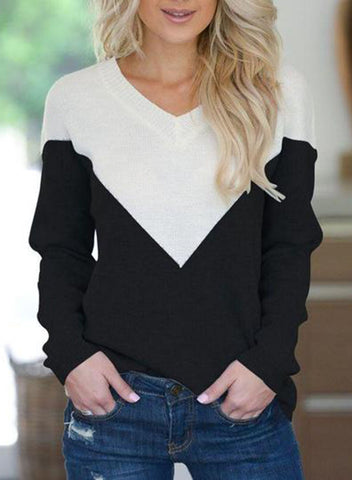 Women's Color Contrast Sweater